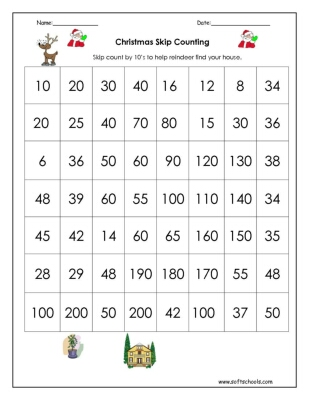 Christmas Skip Counting by 10 Worksheet
