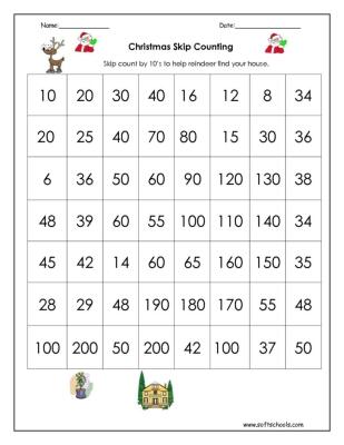 christmas skip counting by 10 worksheet. Black Bedroom Furniture Sets. Home Design Ideas